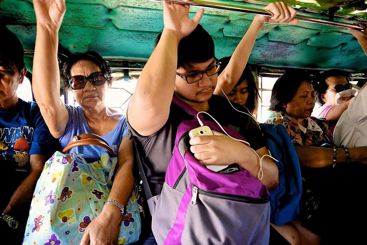 A jeepney (far left) is essentially a barebones lorry made to look like a gaudy, stretched version of the military jeeps the Americans used in World War II. Passengers sit on two cushioned benches on both sides of what basically is a truck bed (left