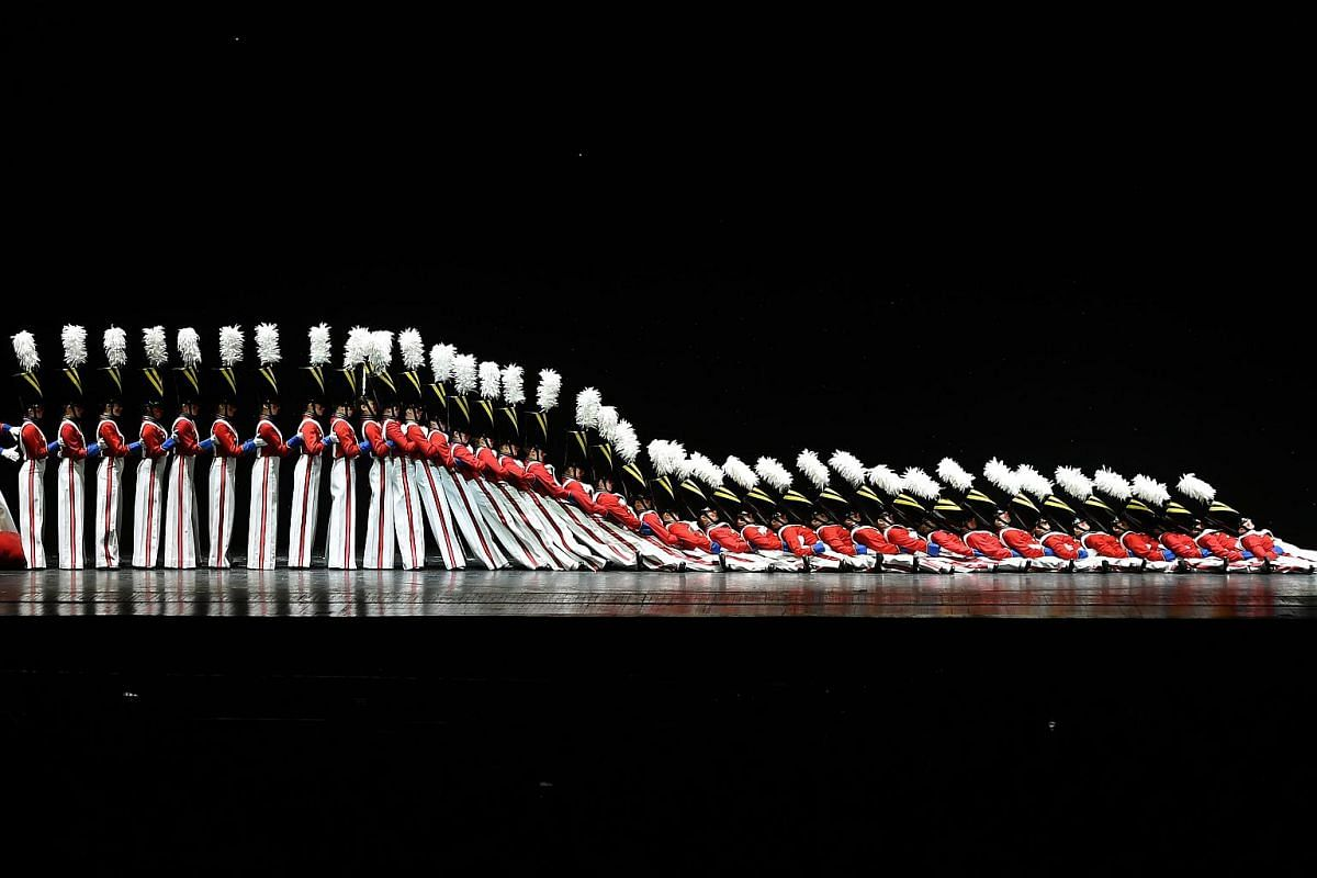 The Rockettes tumbling down in the Parade Of The Wooden Soldiers during the 2015 Radio City Christmas Spectacular at Radio City Music Hall on Dec 2, 2015.