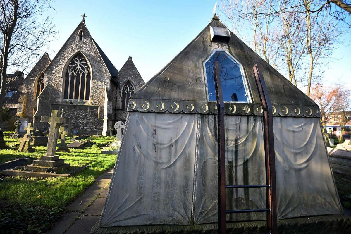 The Victorian mausoleum of British adventurer and historian Richard Francis Burton taking the form of a Bedouin tent, at the cemetery outside St Mary Magdalen Roman Catholic Church in Mortlake, south-west London, on Dec 4, 2015.