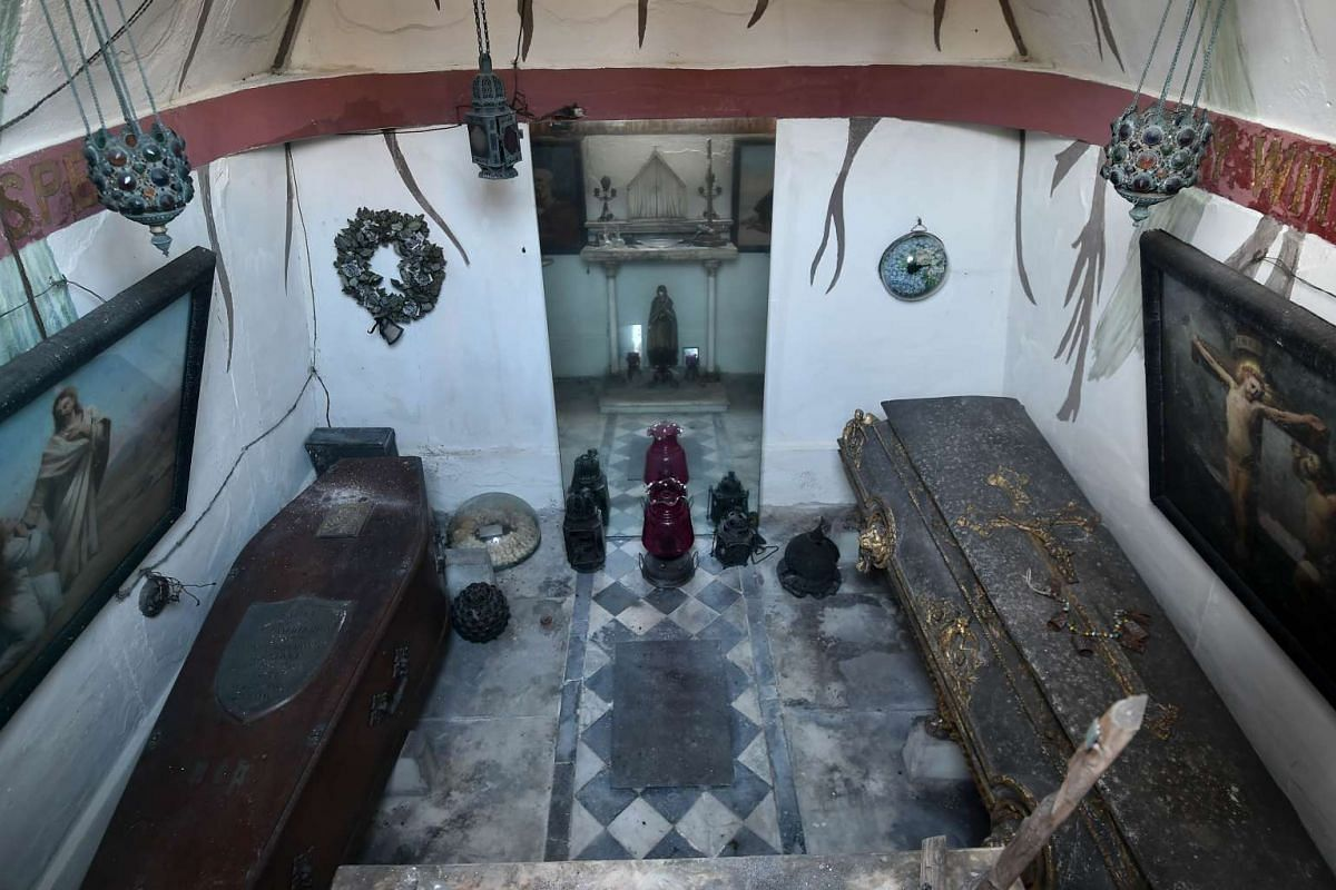 The coffins of British adventurer and historian Richard Francis Burton and his wife Isabel Burton inside the Burton Mausoleum at the cemetery outside St Mary Magdalen Roman Catholic Church in Mortlake, south-west London, on Dec 4, 2015.