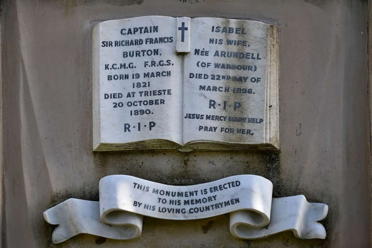 The plaque on the front of the Victorian mausoleum of British adventurer and historian Richard Francis Burton.