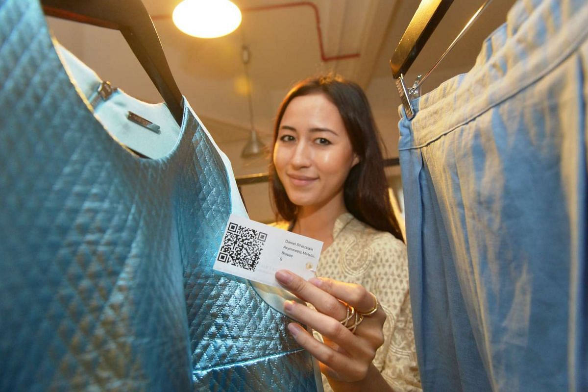 There is no need to look for sales assistants when shoppers can use their mobile devices to scan the QR code on products to find out details such as availability and at which outlets.