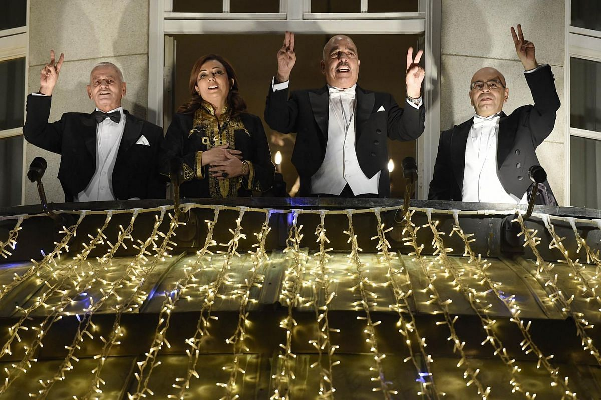 The Nobel Peace Prize laureates of the Tunisian National Dialogue Quartet, (from left) the Secretary General of the Tunisian General Labour Union Houcine Abbassi, the President of the Tunisian employers union (UTICA) Wided Bouchamaoui, the Tunisian H