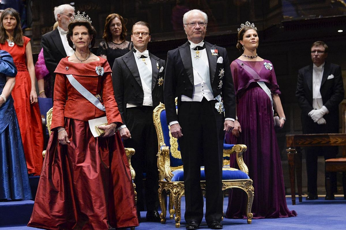 (From left) Queen Silvia, Prince Daniel, King Carl Gustaf and Crown Princess Victoria of Sweden during the ceremony.