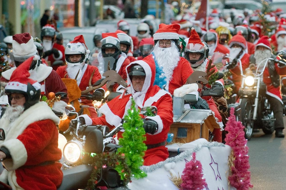 Bikers dressed as Santa Claus ride their motorcycles through Berlin, Germany, on 12 Dec, 2015. The association 'Santa Claus on Road' organised the charity ride to collect donations for Berliners in need. The first stop was the Day center for the home