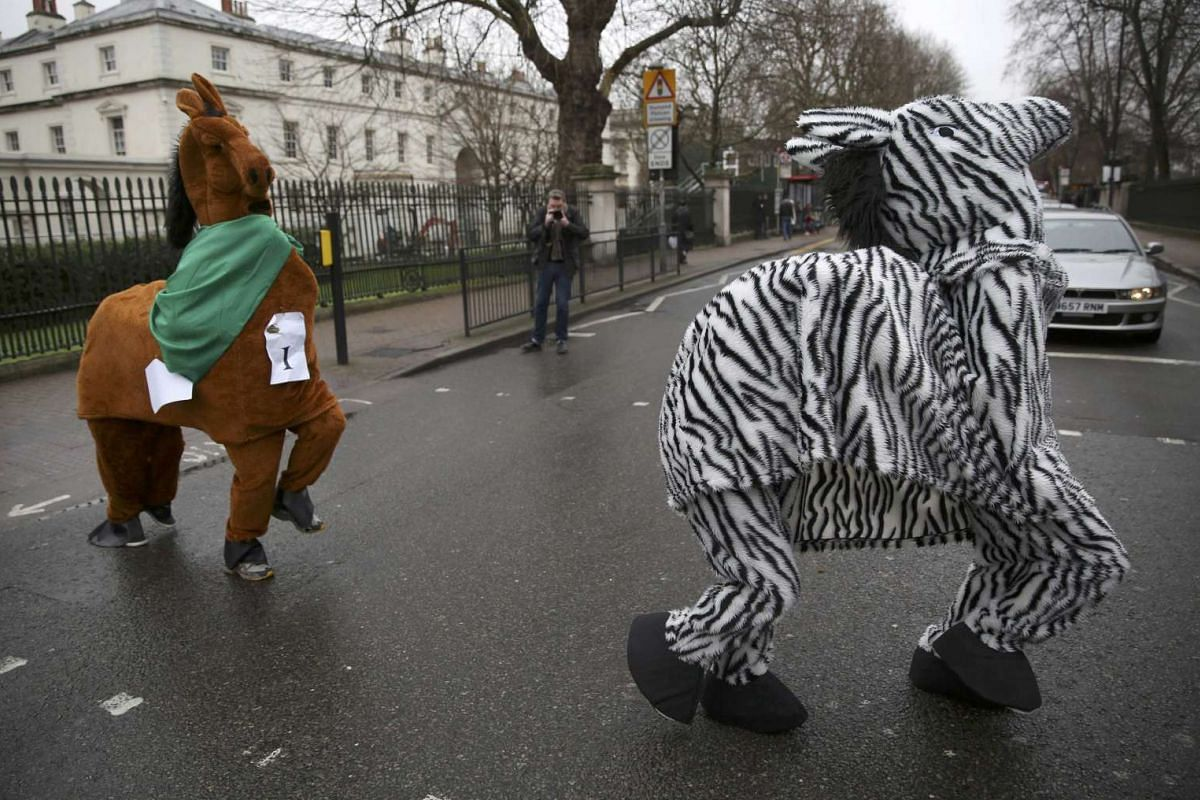 Participants wear costume as they cross the road during the annual London Pantomime Horse Race in Greenwich, Britain on Dec 13, 2015.
