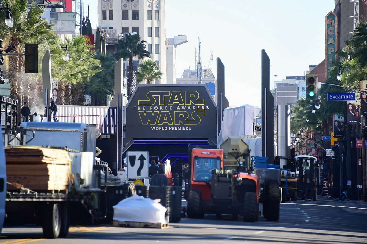 Preparations continue along Hollywood Boulevard for the premiere of the latest Star Wars movie, The Force Awakens, which premieres on the night of Dec 14, 2015 in Hollywood, California.