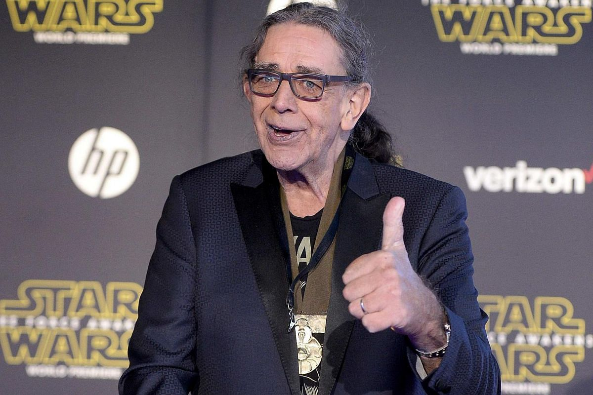 Actor Peter Mayhew arriving at the premiere of Star Wars: The Force Awakens.