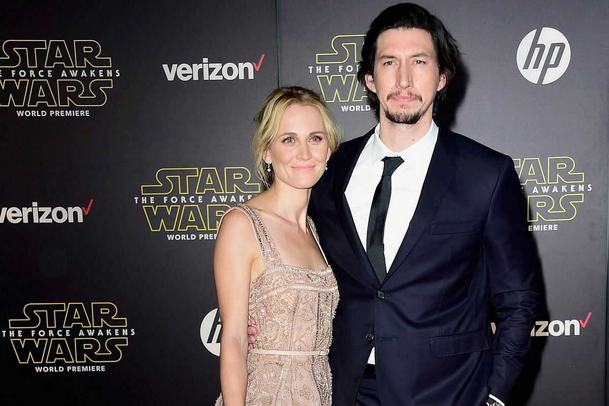 Actors Joanne Tucker (left) and Adam Driver arriving at the premiere of Star Wars: The Force Awakens.