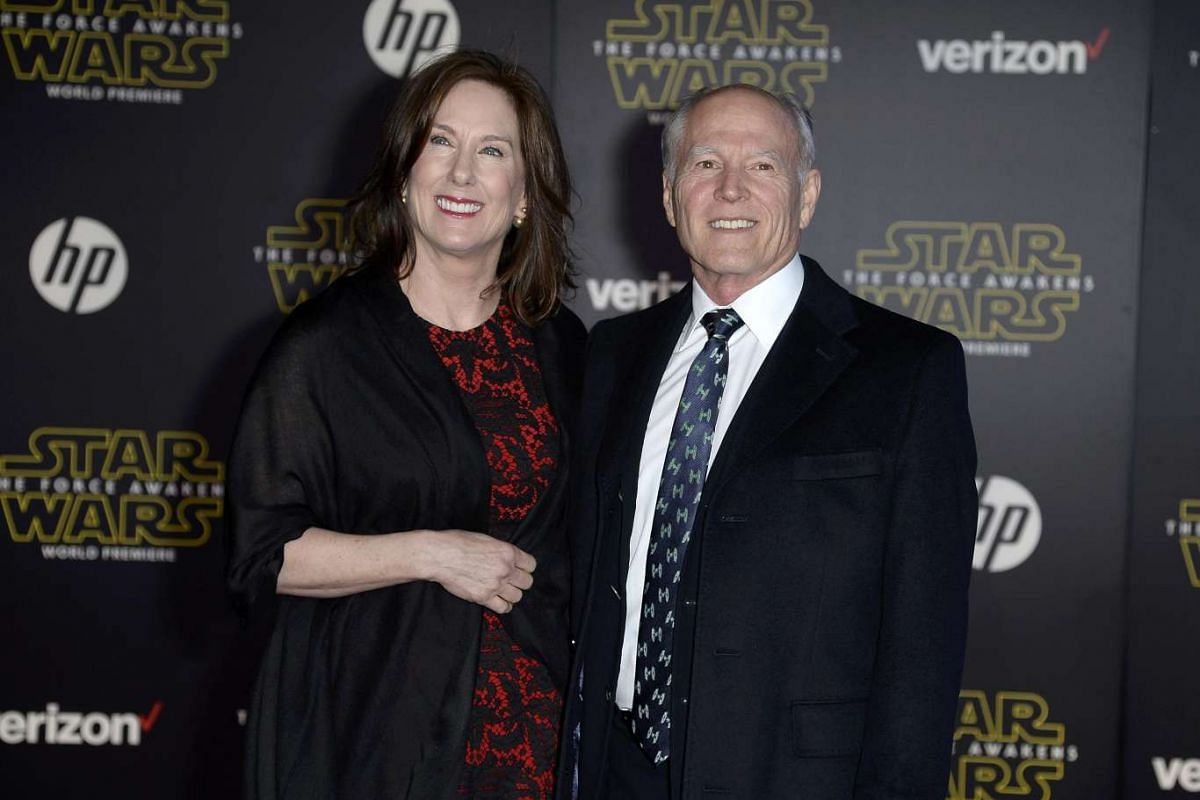 Producer Kathleen Kennedy (left) and husband, producer Frank Marshall, arriving at the premiere of Star Wars: The Force Awakens.