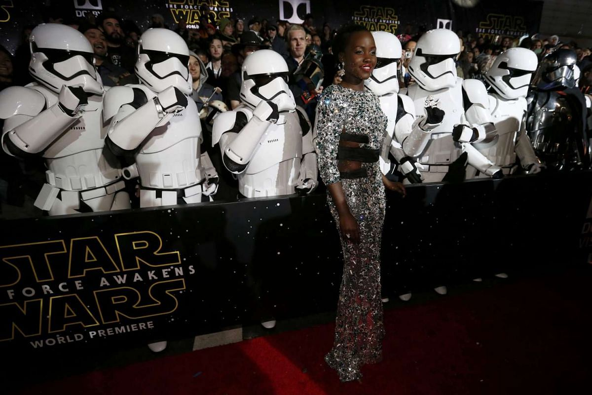 Actress Lupita Nyong'o arriving at the premiere of Star Wars: The Force Awakens