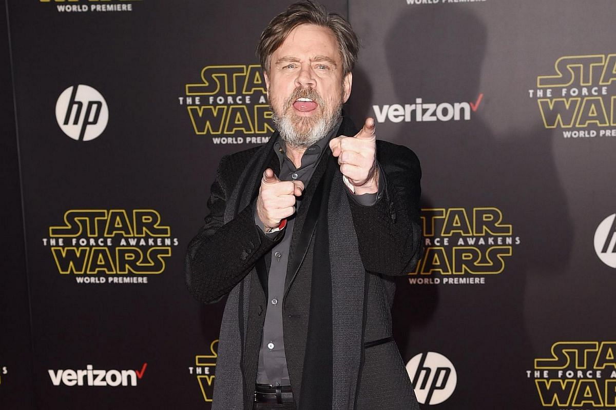 Actor Mark Hamill arriving at the premiere of Star Wars: The Force Awakens.