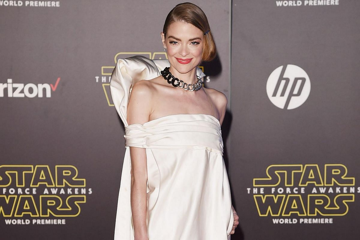 Actress Jaime King arriving at the premiere of Star Wars: The Force Awakens.