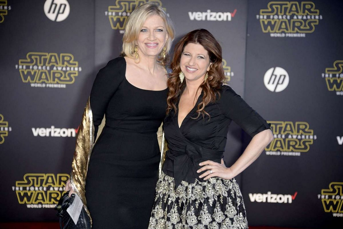 Journalists Diane Sawyer (left) and Rachel Nichols arriving at the premiere of Star Wars: The Force Awakens.
