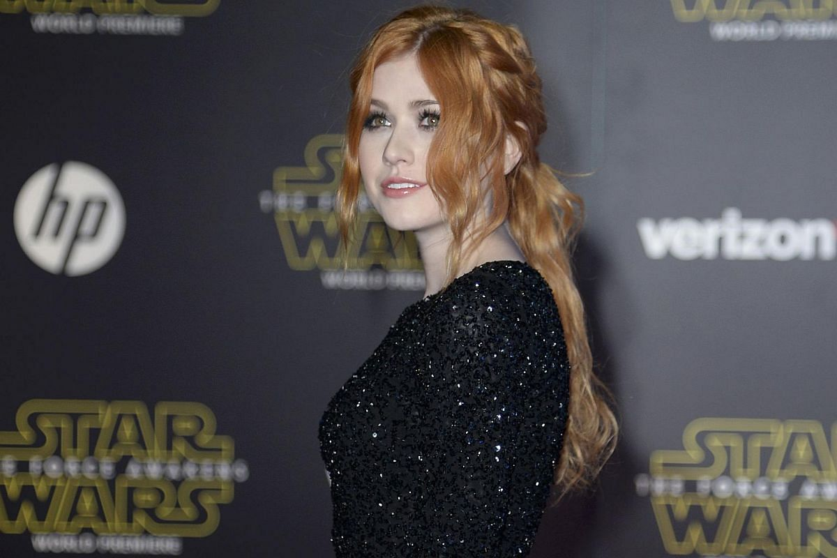 Actress Katherine McNamara arriving at the premiere of Star Wars: The Force Awakens.
