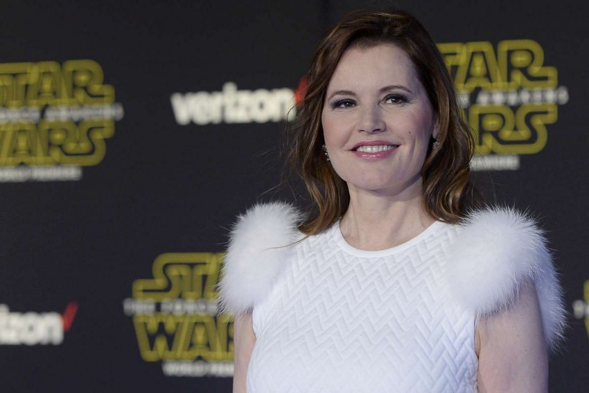 Actress Geena Davis arriving at the premiere of Star Wars: The Force Awakens.