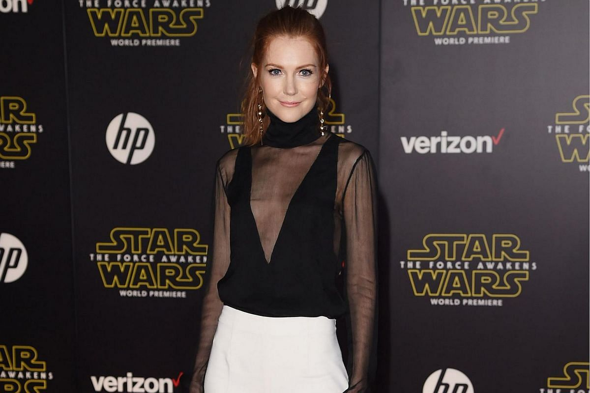 Actress Darby Stanchfield arriving at the premiere of Star Wars: The Force Awakens.