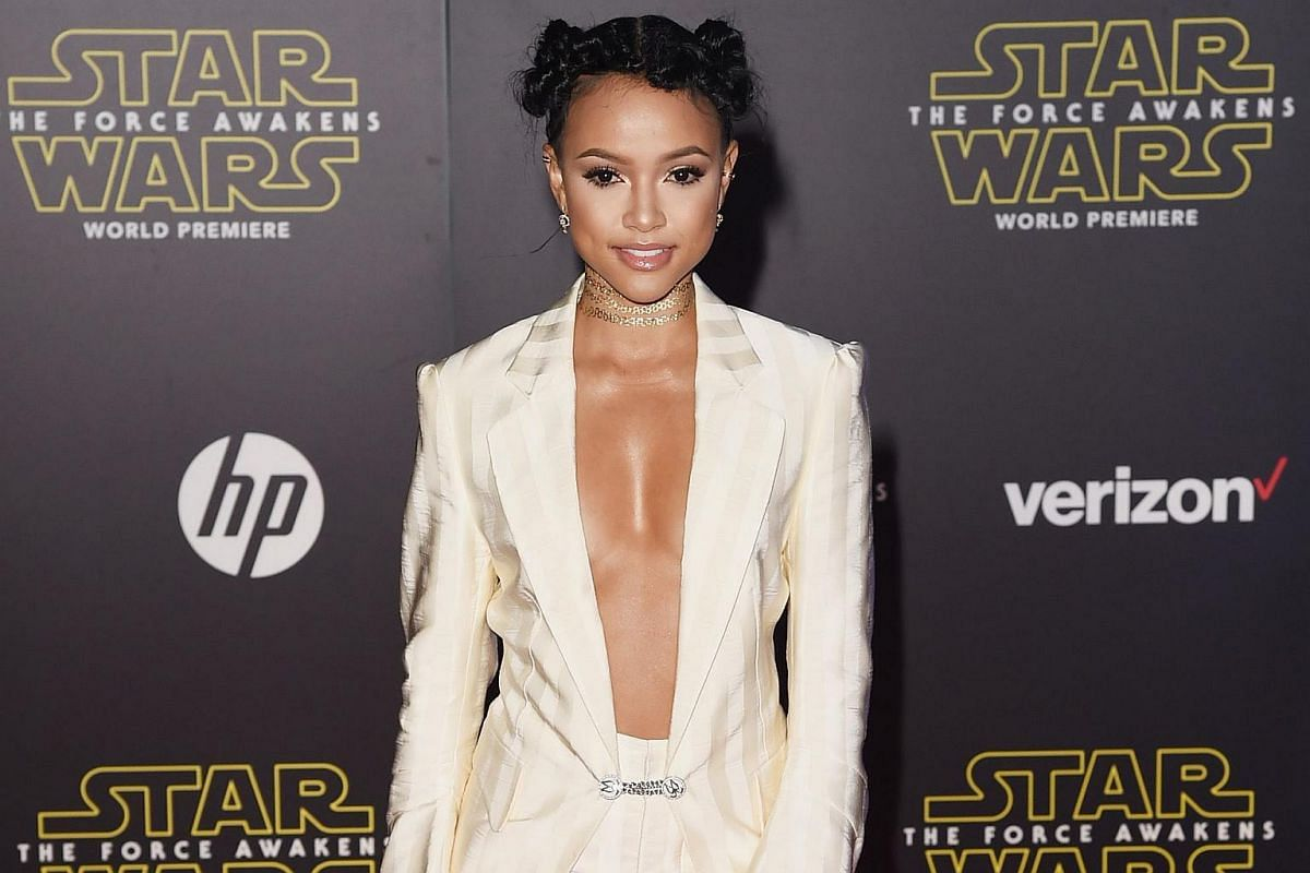 Actress Karrueche Tran arriving at the premiere of Star Wars: The Force Awakens.