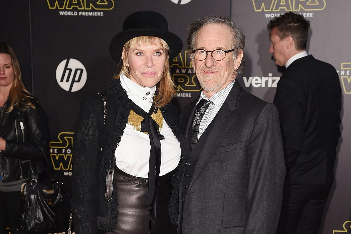 Director Steven Spielberg (right) and actress Kate Capshaw arriving at the premiere of Star Wars: The Force Awakens.