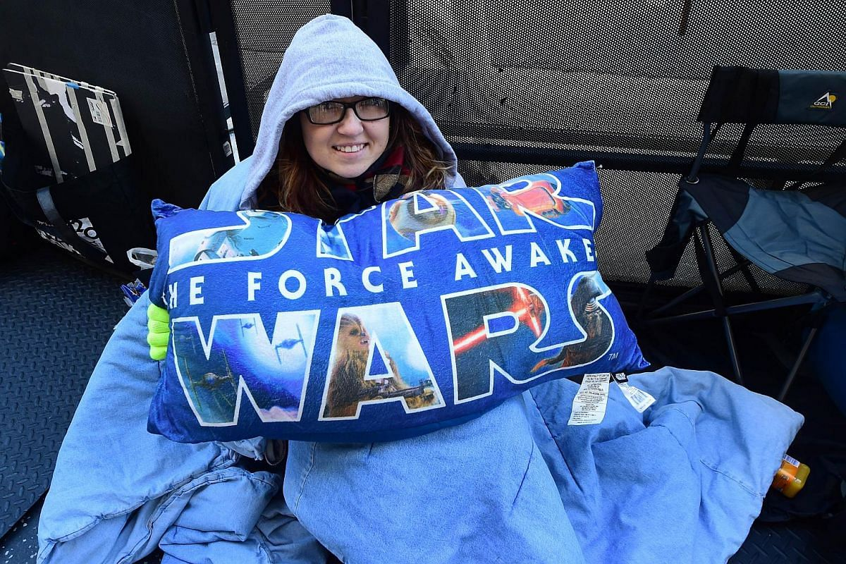 Star Wars fan Jessica Sisoev in line on Dec 14, 2015, in Hollywood, California where hardcore fans have been camping out since Dec 5, 2015 .