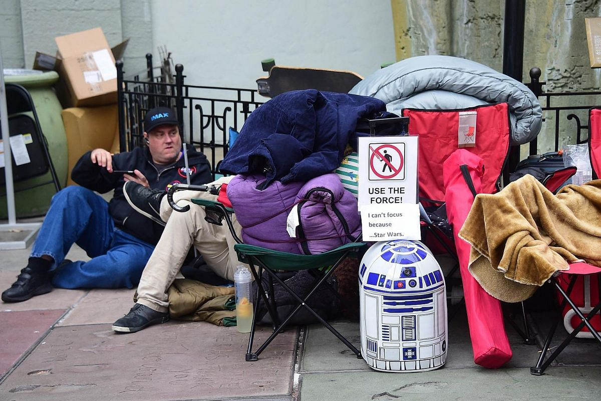 Star Wars fans gathered in front of the TCL Theater in Hollywood, California on Dec 10, 2015, where over 100 fans have been camped out in anticipation of the new film.