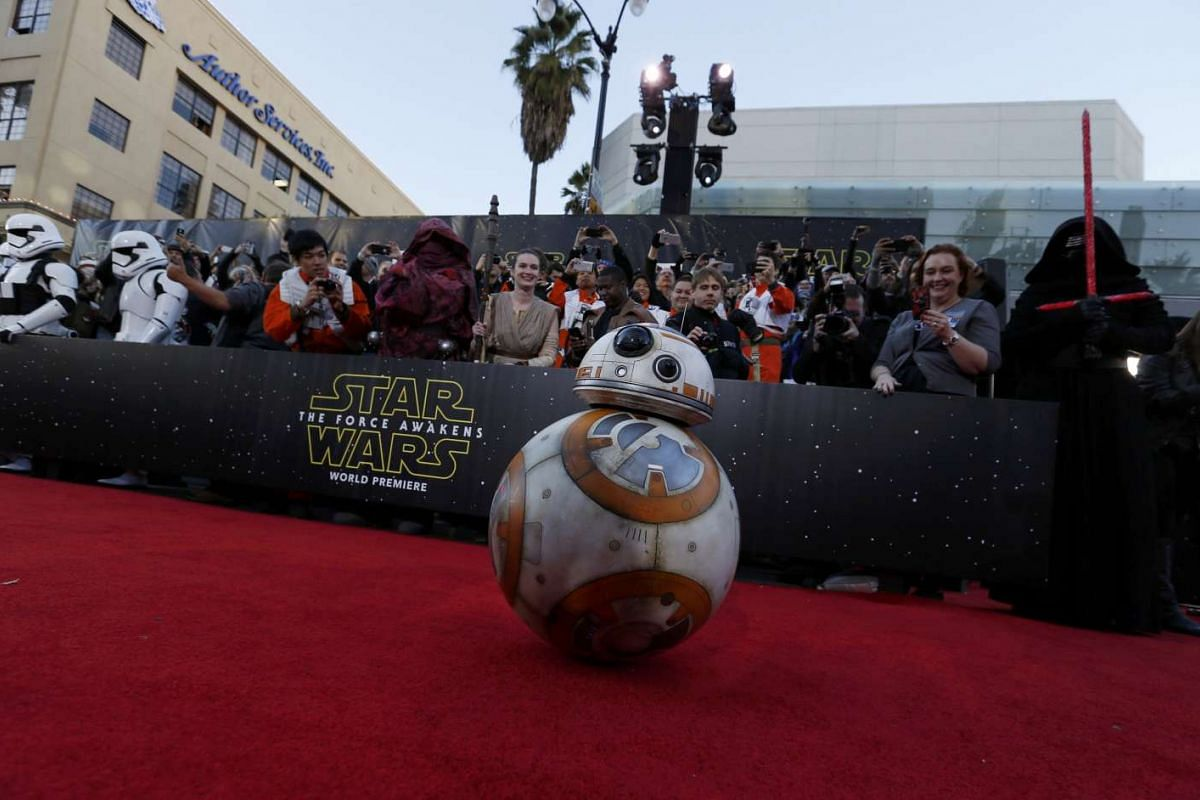 Droid BB-8 arriving at the world premiere of Star Wars: The Force Awakens in Hollywood, California, on Dec 14, 2015.