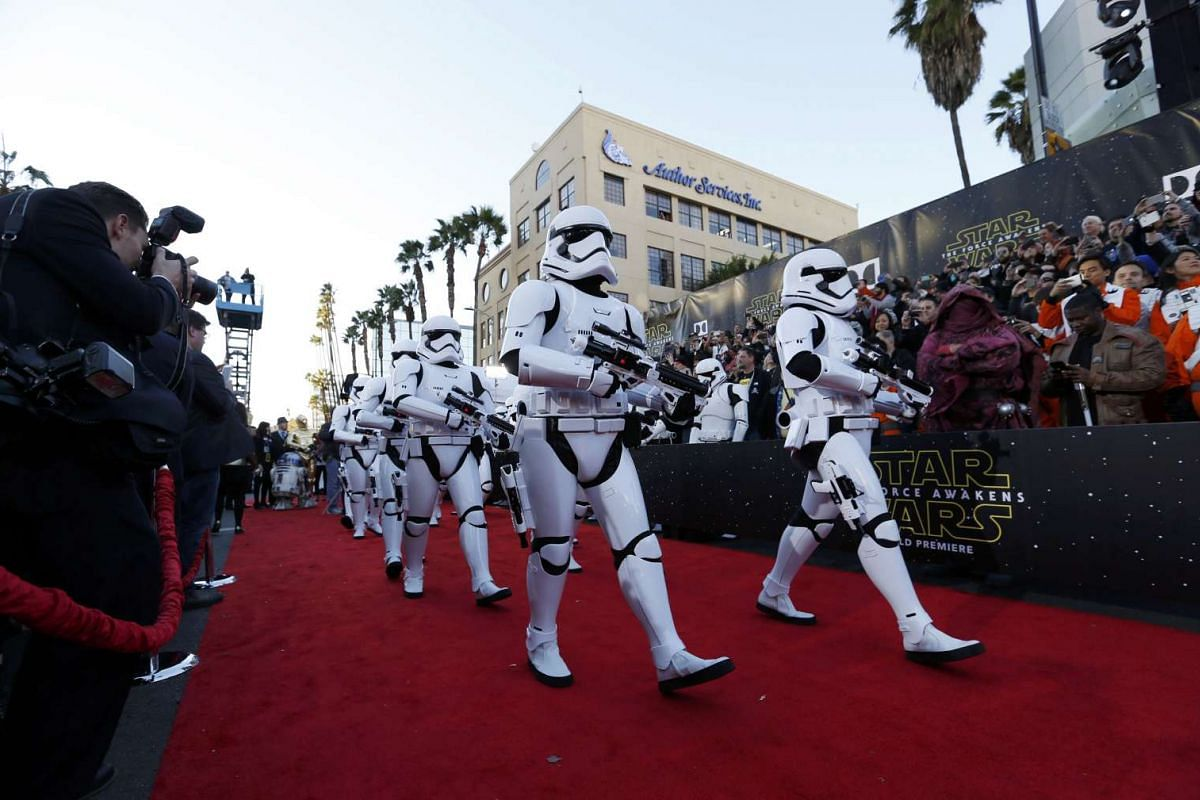 Storm Troopers marching in at the world premiere of Star Wars: The Force Awakens in Hollywood, California, on Dec 14, 2015.