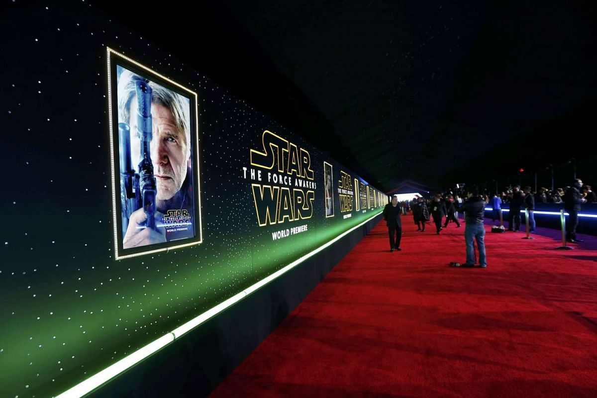 The red carpet at the world premiere of Star Wars: The Force Awakens.