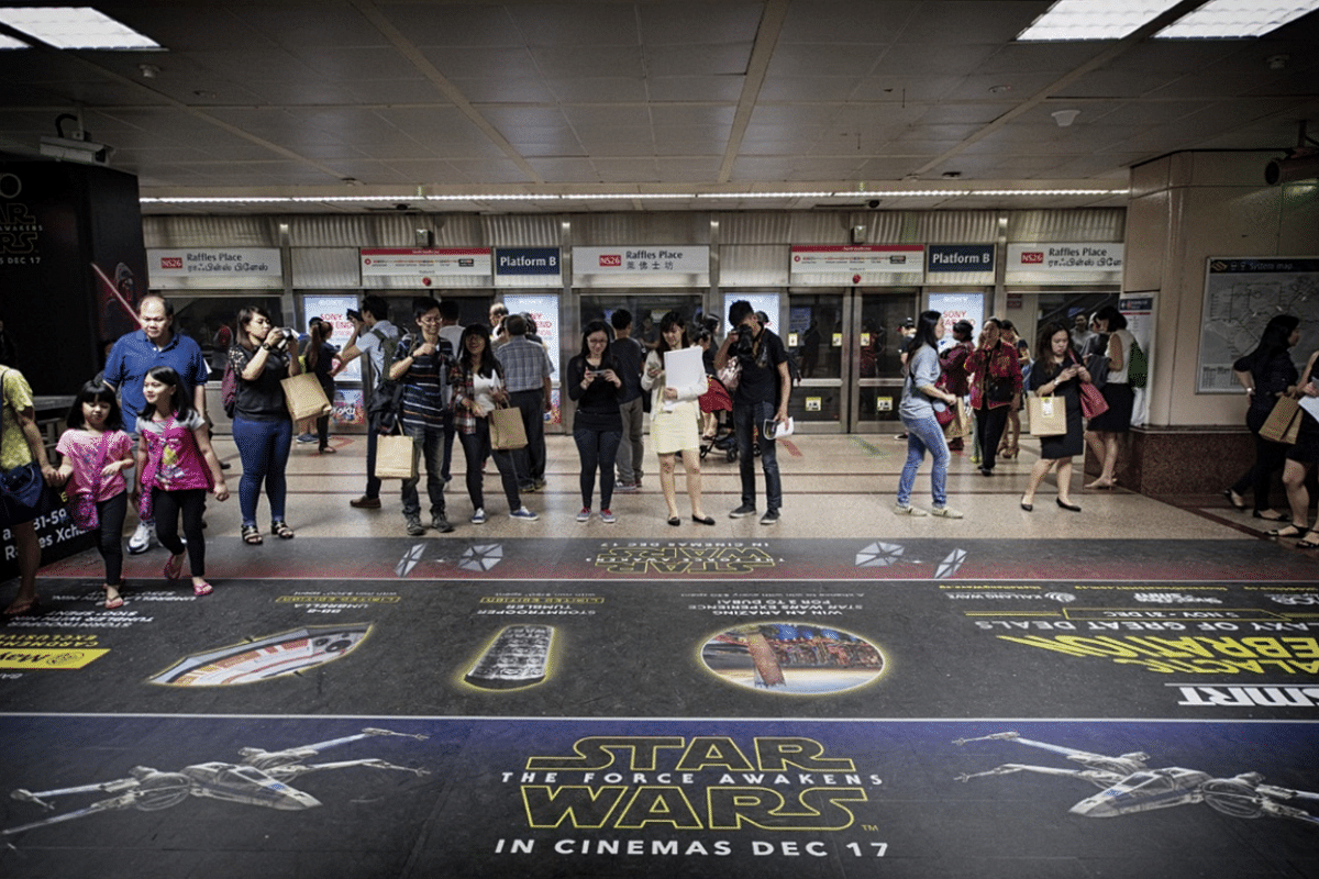 Raffles Place MRT station with the Star Wars-themed display.