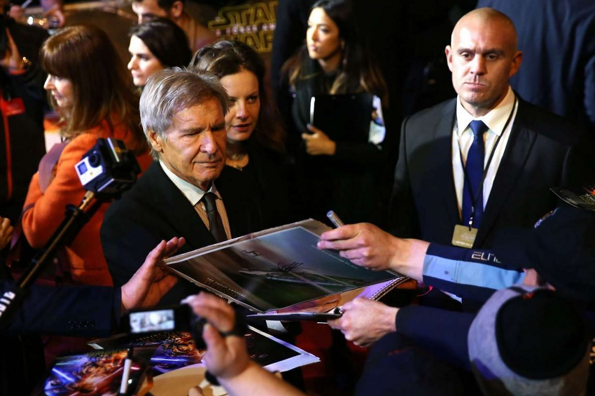 Harrison Ford attends the opening of the European premiere of Star Wars: The Force Awakens at Leicester Square in London.