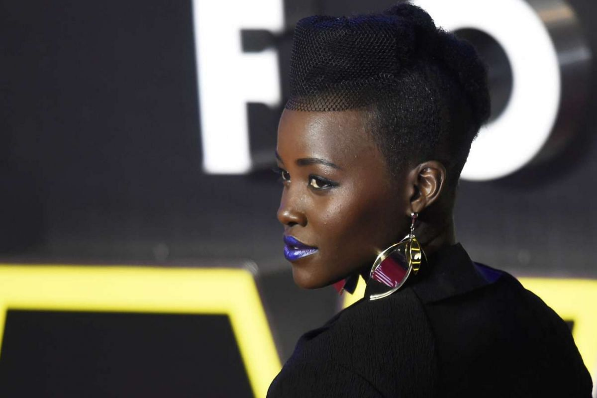 Lupita Nyong'o at the European premiere of Star Wars: The Force Awakens at Leicester Square in London.