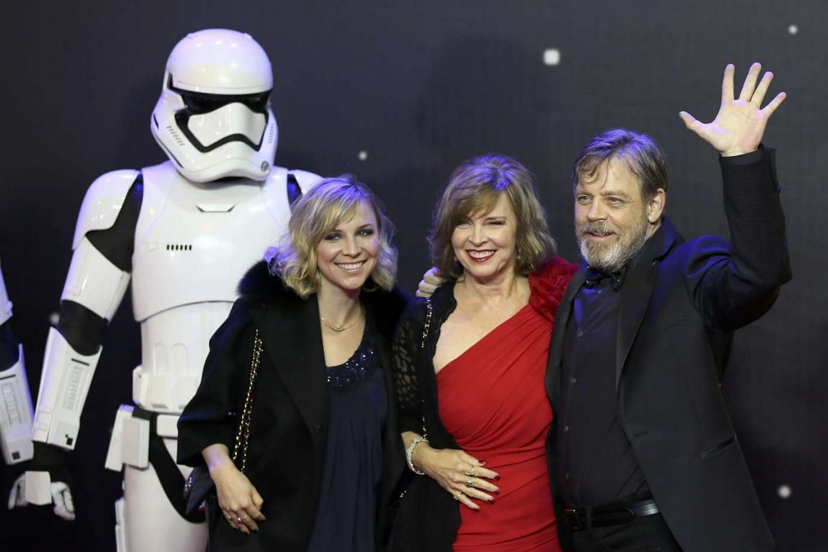 Mark Hamill waves as he arrives at the European Premiere of Star Wars: The Force Awakens at Leicester Square in London.