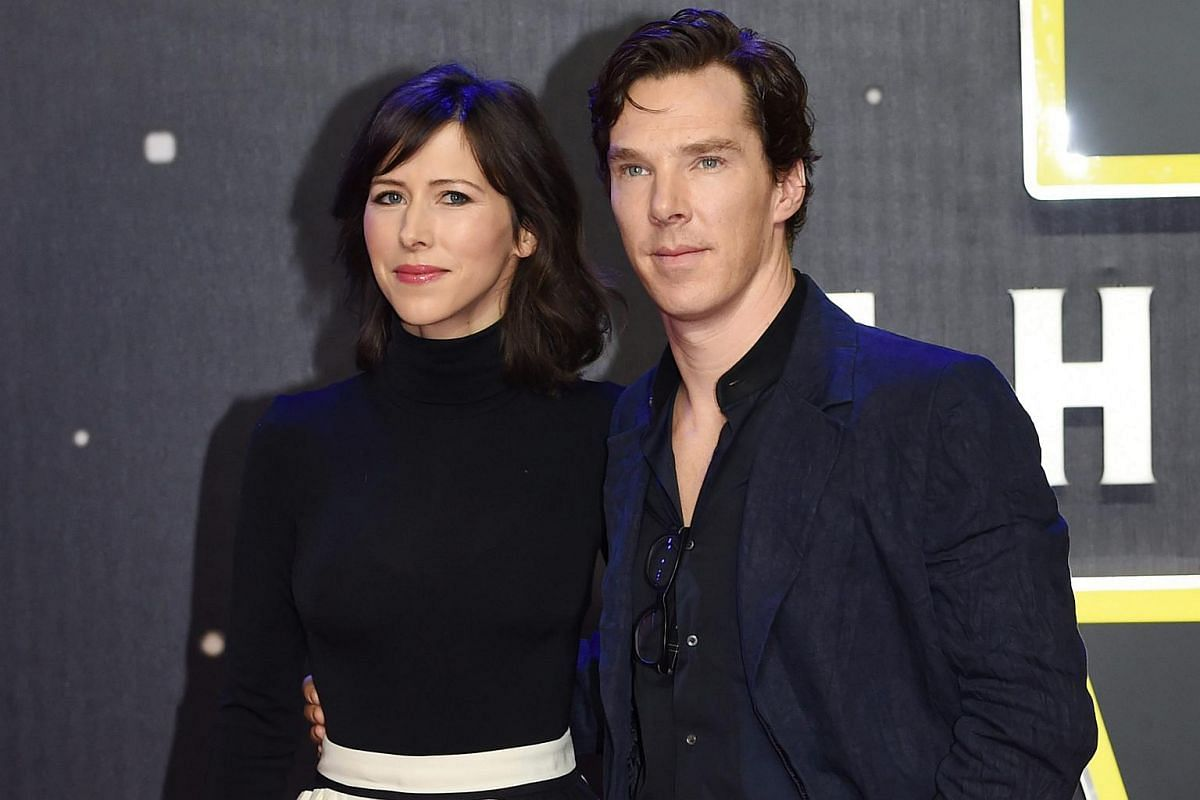 Benedict Cumberbatch and his wife Sophie Hunter arrive at the European premiere of Star Wars: The Force Awakens at Leicester Square in London.
