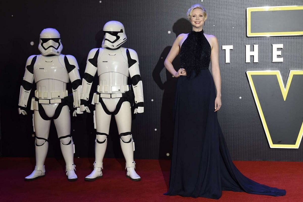 Gwendoline Christie with Stormtroopers at the European premiere of Star Wars: The Force Awakens at Leicester Square in London.