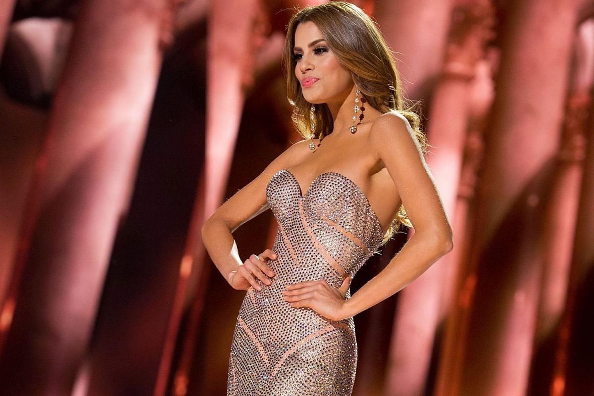 Miss Colombia Ariadna Gutierrez competing in an evening gown of her choice during The 2015 Miss Universe Telecast on Dec 20, 2015.