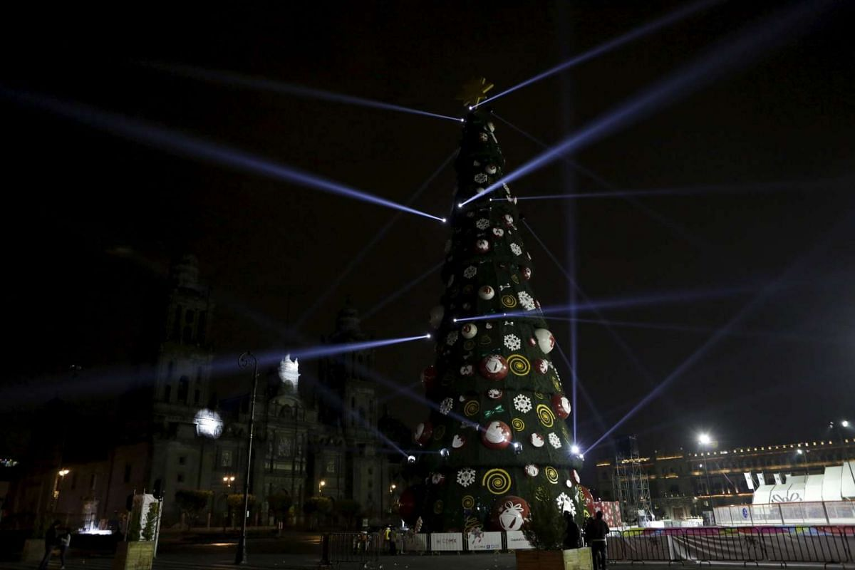 A Christmas tree in front of the Palacio Nacional in Zocalo Square in downtown Mexico City, Mexico, on Dec 10, 2015.
