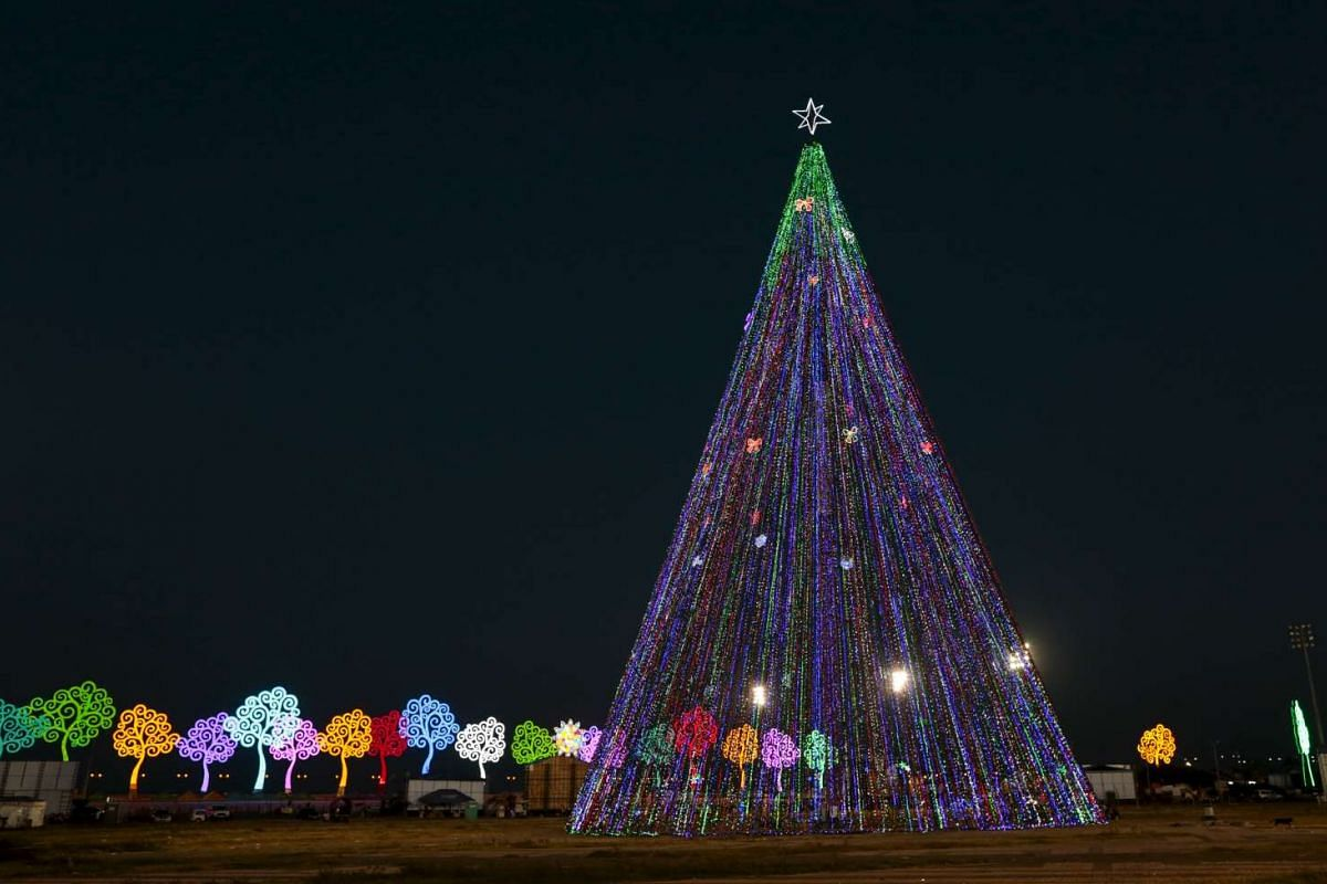 A Christmas tree at Juan Pablo II square in Managua, Nicaragua, on Dec 14, 2015.