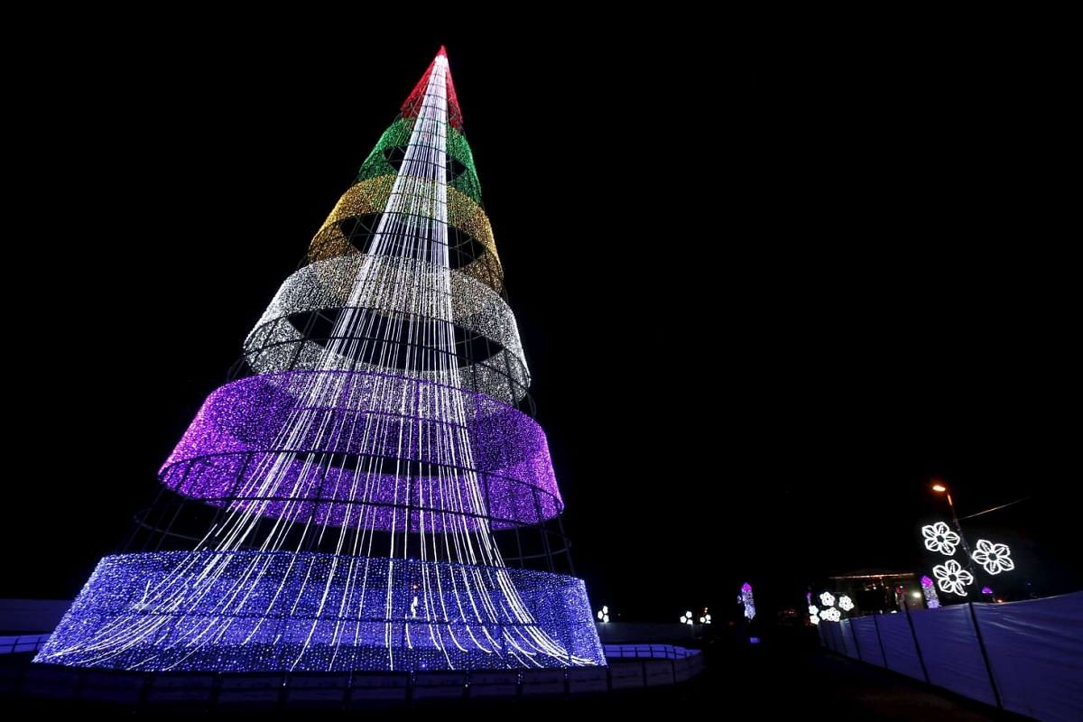 A Christmas tree in Park Simon Bolivar in Bogota, Colombia, on Dec 7, 2015.