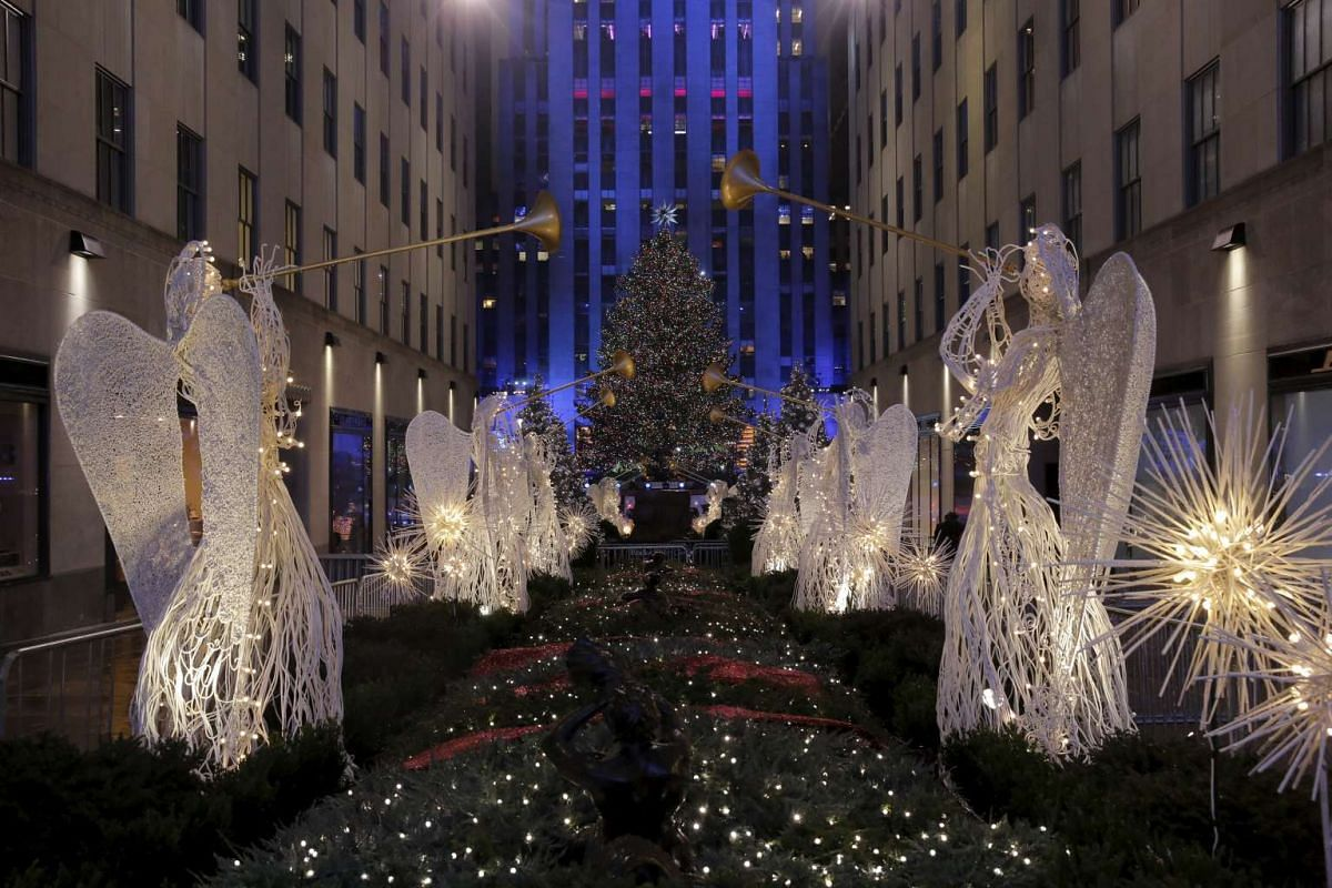Holiday lights shine on the 83rd Rockefeller Center Christmas tree in Manhattan, New York, on Dec 2, 2015.