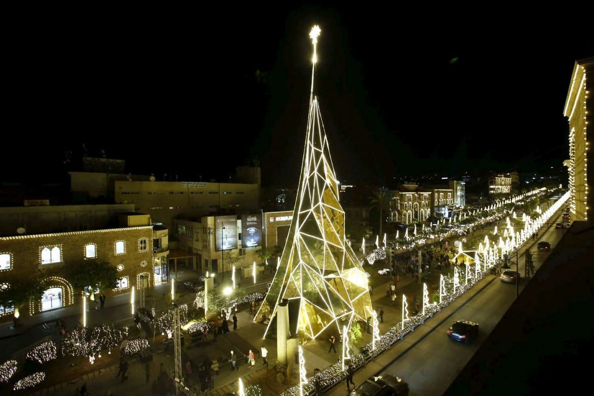 A Christmas tree in Byblos, north of Beirut in Lebanon on Nov 25, 2015.
