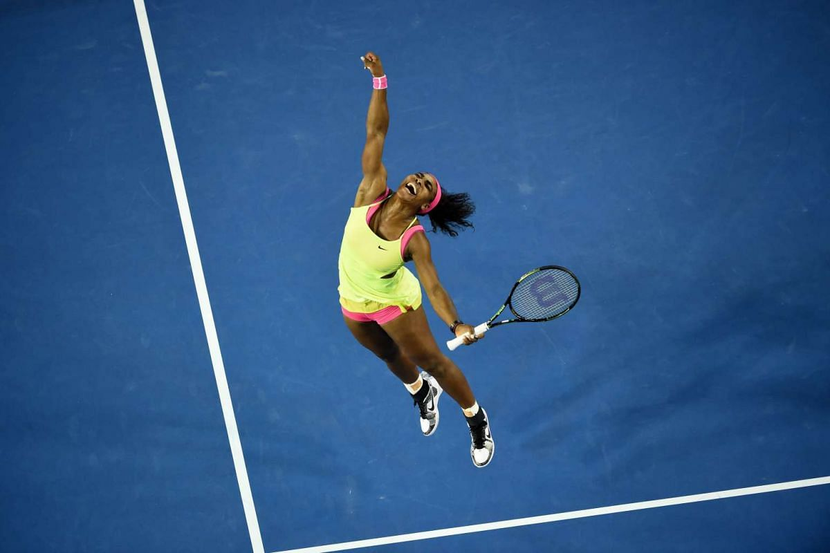 Serena Williams celebrating after victory in her women's singles final match against Maria Sharapova at the 2015 Australian Open in Melbourne on Jan 31, 2015.