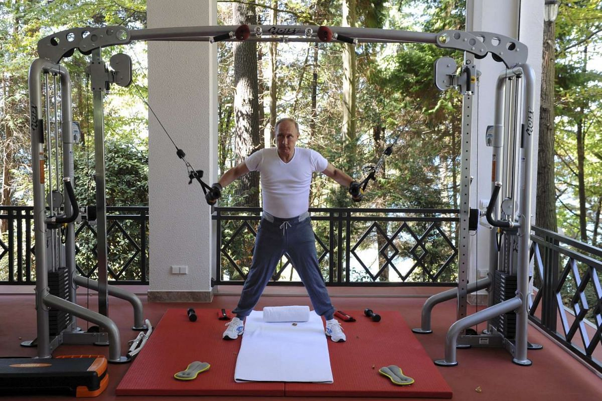 Russian President Vladimir Putin exercising in a gym at the Bocharov Ruchei state residence in Sochi, Russia, on Aug 30, 2015.
