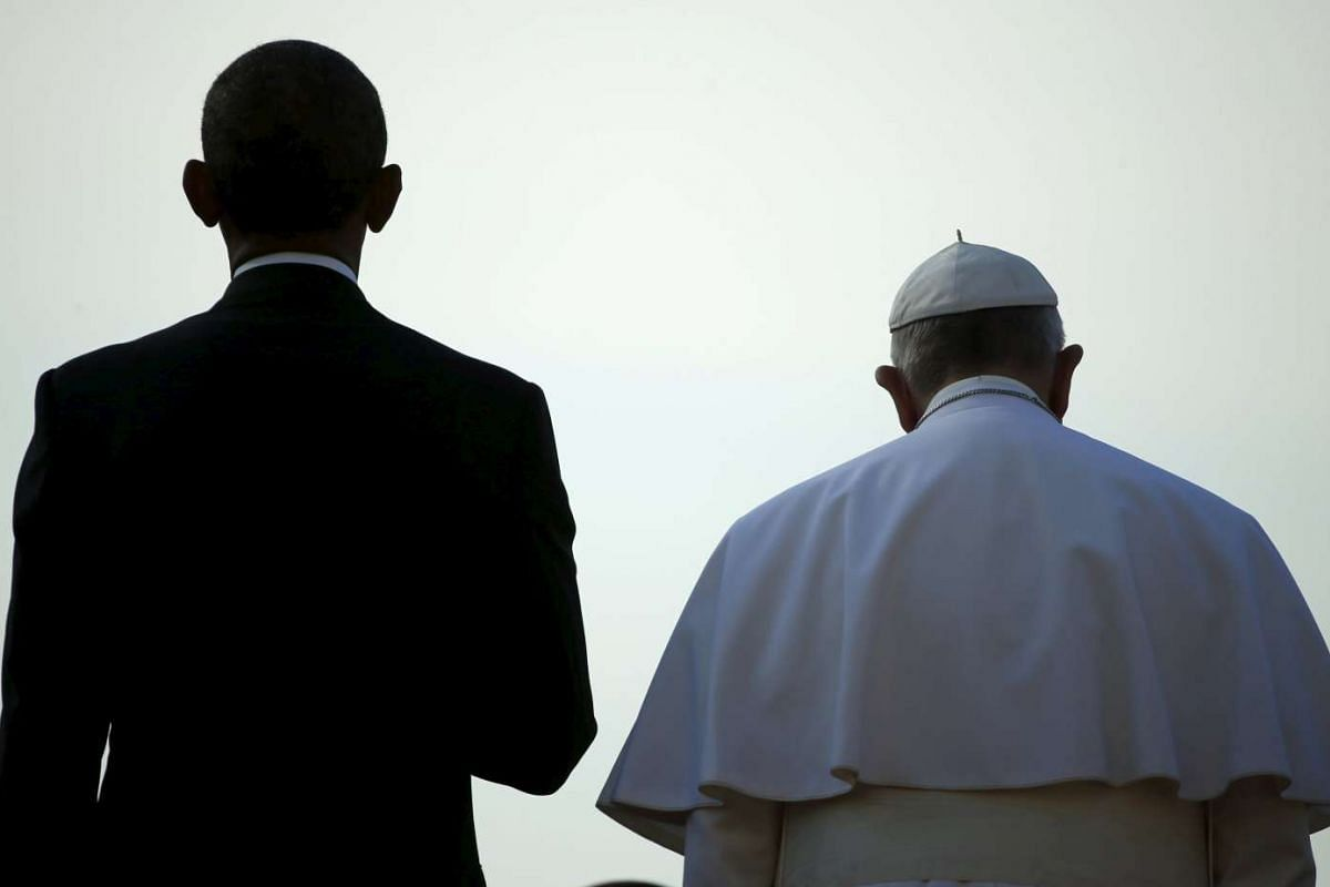 US President Barack Obama standing with Pope Francis at the White House in Washington, United States, on Sept 23, 2015.