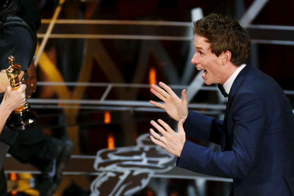 Eddie Redmayne taking the stage to accept the Best Actor Oscar for his role in The Theory Of Everything during the 87th Academy Awards in Hollywood, California, on Feb 22, 2015.