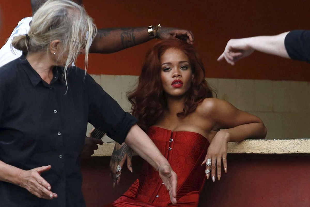 Singer Rihanna preparing for a photoshoot with photographer Annie Leibovitz in Havana, Cuba, on May 28, 2015.