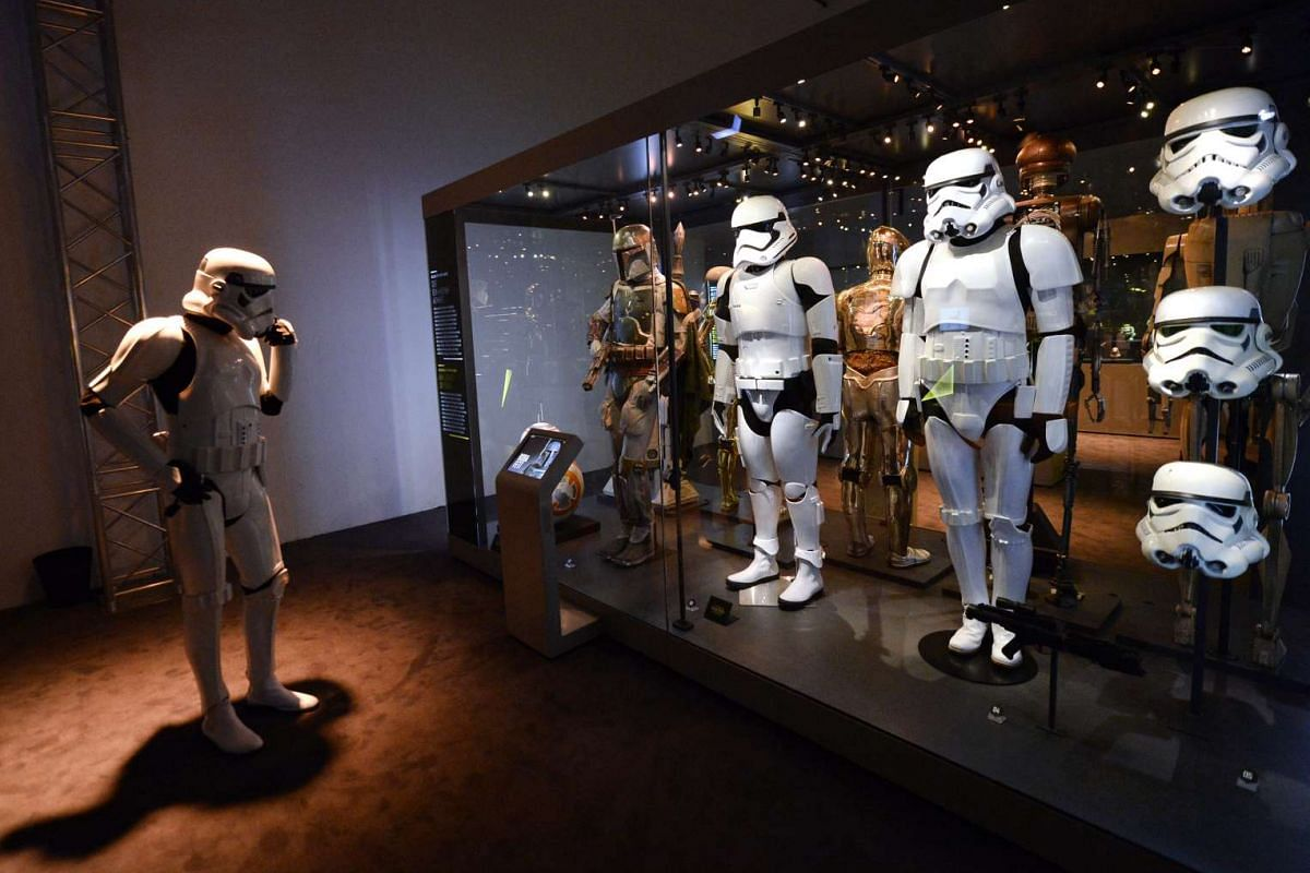 A member of the Star Wars fan club 501st Legion at the Star Wars Identities exhibition in the Museum Fuer Angewandte Kunst in Vienna, Austria on Dec 17, 2015.
