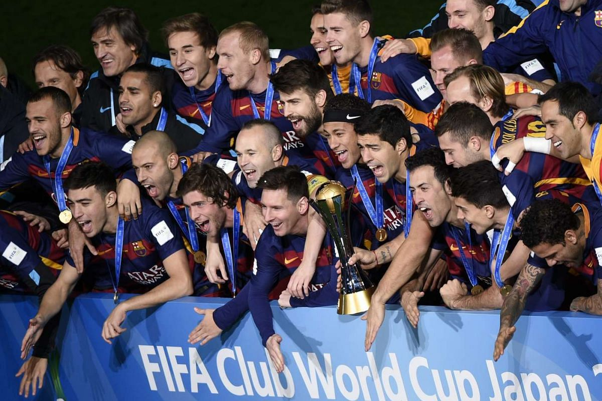 Barcelona's players celebrating after winning the Fifa Club World Cup 2015 in Yokohama, south of Tokyo, Japan on Dec 20, 2015.