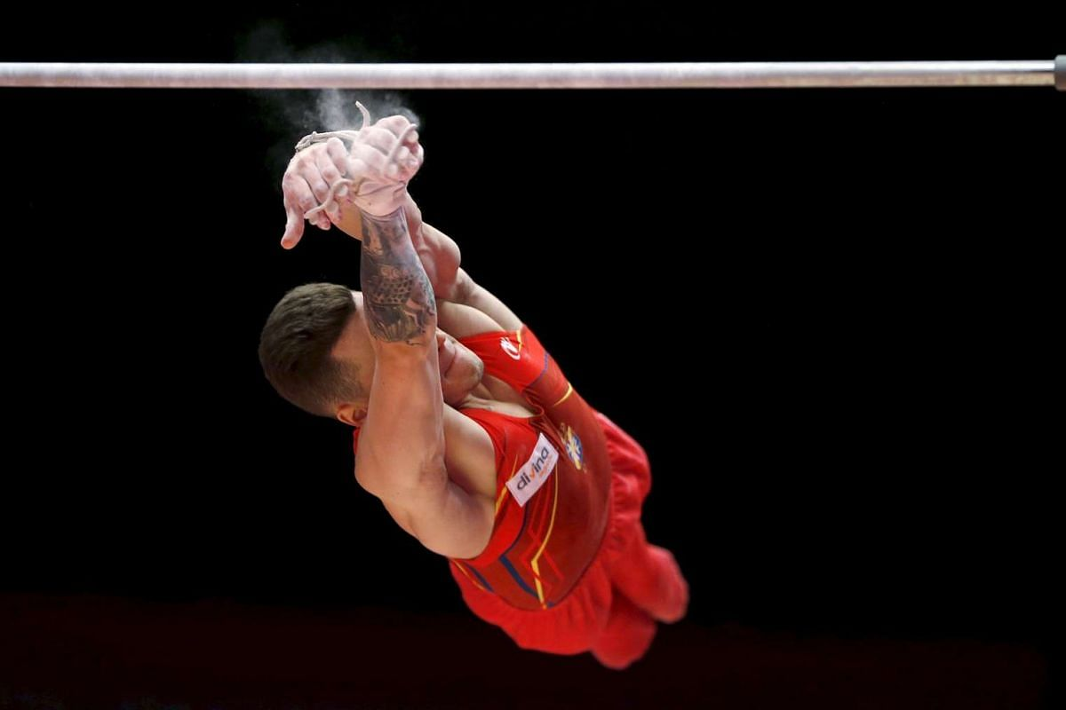 Nestor Abad of Spain falling from the high bar during the men's qualification for the World Gymnastics Championships at the Hydro arena in Glasgow, Scotland on Oct 26, 2015.