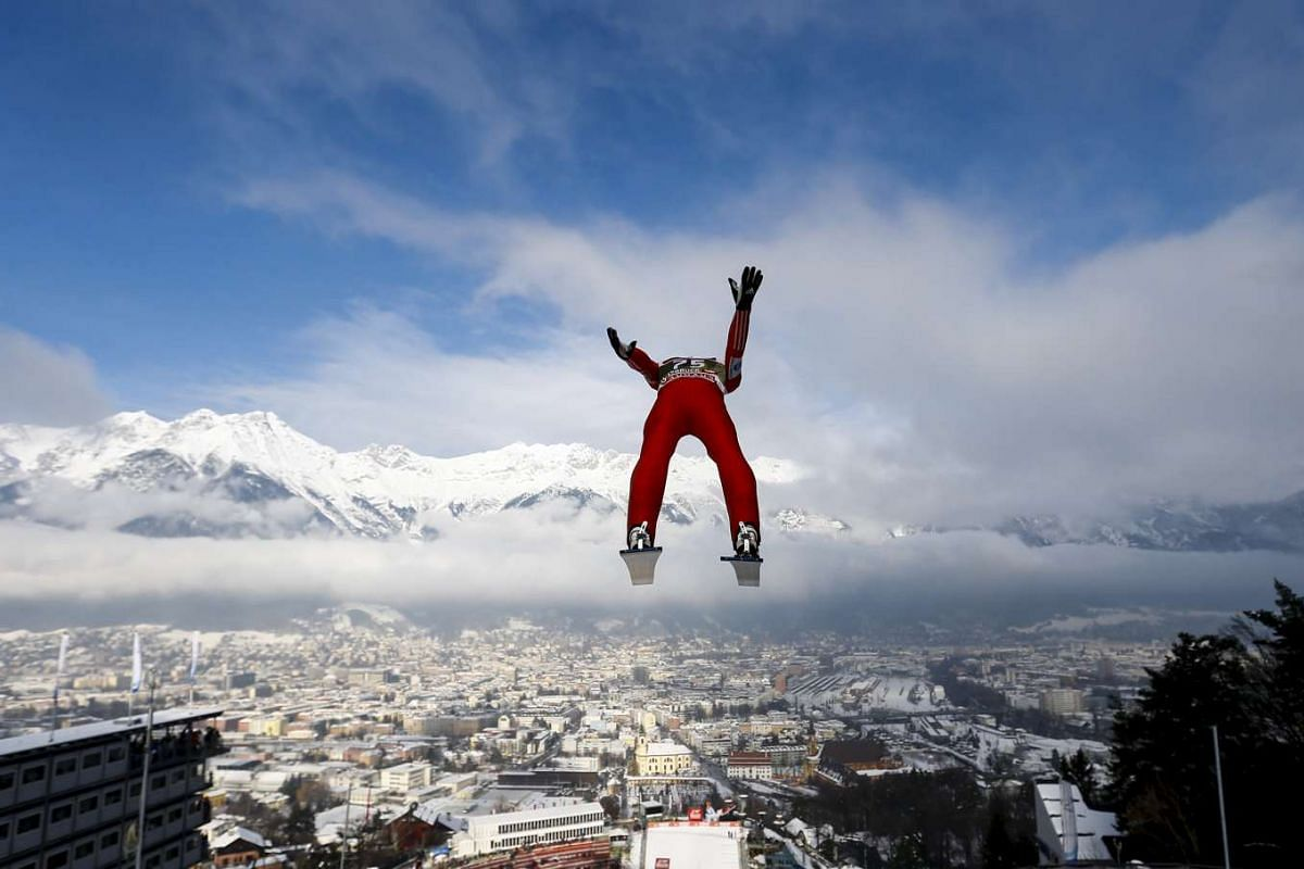 Norway's Anders Fannemel soars through the air during training for the third jumping of the 63rd four-hills ski jumping tournament in Innsbruck, Austria on Jan 3, 2015.