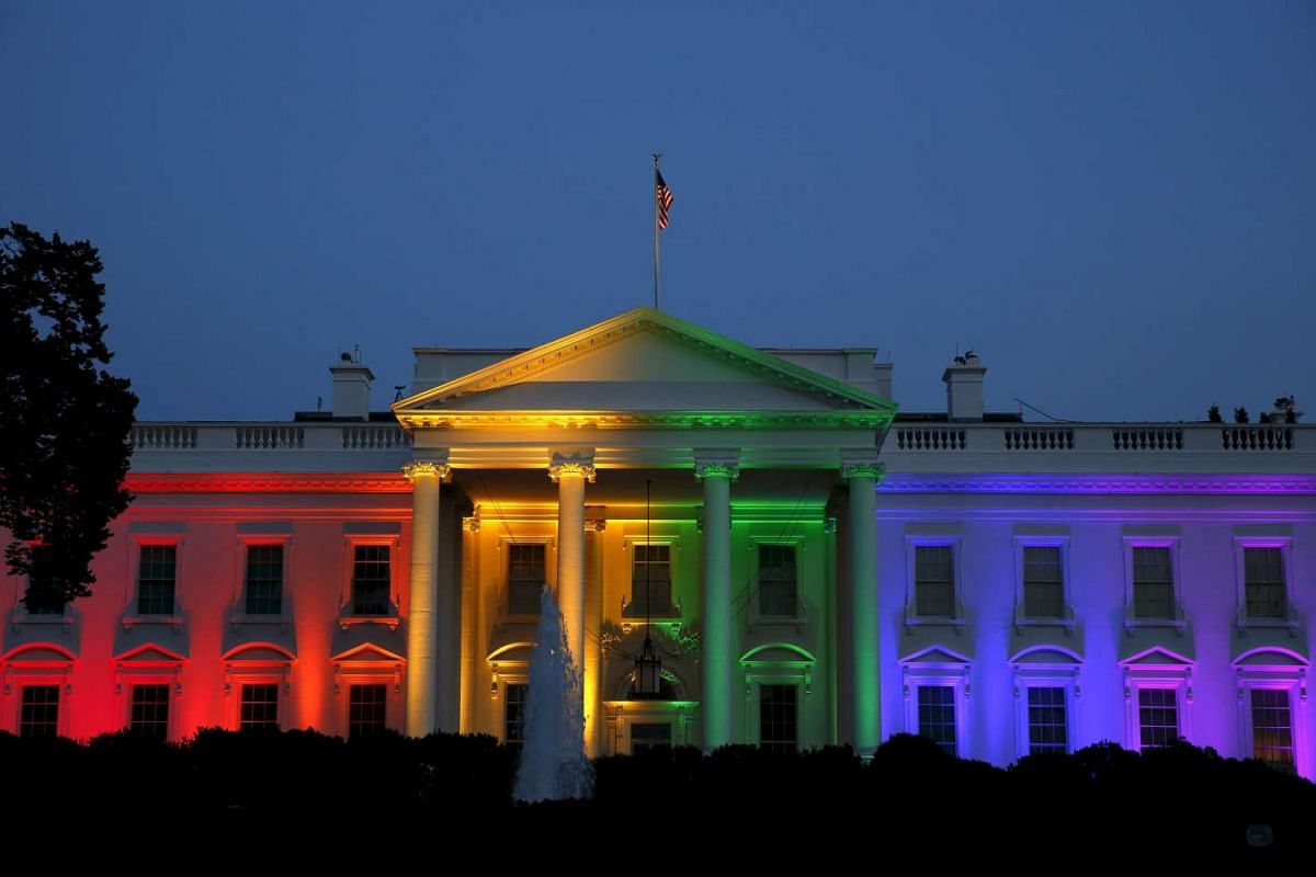 The White House being illuminated in rainbow colours after a historic Supreme Court ruling legalising gay marriage in Washington, US, on June 26, 2015.